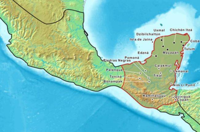 Mapa de Ciudades Mayas