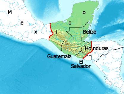 Mapa de la geografia maya